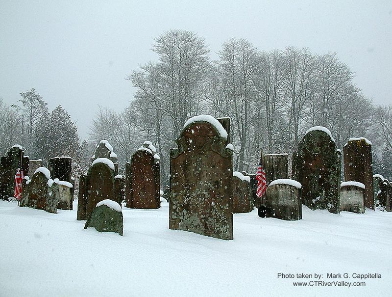Tombstones in snow